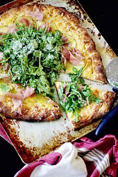 Potato Prosciutto and Arugula Pizza with Dijon Vinaigrette