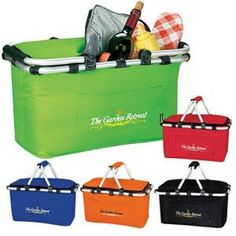 Koozie Picnic basket With Handle... Enjoy a nice, relaxing picnic with the KOOZIE® Picnic Basket. The picnic basket will proudly show your logo. Promote your brand while on a relaxing picnic.   Easily add your logo to custom printed Picnic Baskets and other imprinted promotional Auto / Home / Tools materials to meet your marketing and advertising needs.  See more details at: http://www.houseofimprints.com/auto-home-tools/picnic-baskets/koozie-picnic-basket-w-metal-handle