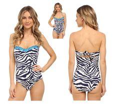 Tommy Bahama Navy Zebra Bandeau One Piece Swimsuit $148 NWT Large 14 #TommyBahama #OnePiece