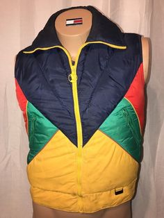 White Stag Mountain Goat Youth Puffy Vest Vintage Colorful  #WhiteStag