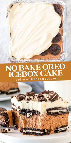 This creamy Oreo icebox cake is the perfect dessert for summer. Layers of oreo biscuits, no-bake chocolate filling, whipped cream and even more oreo! and desserts recipes Summer Dessert Recipes, Cold Desserts, Dessert Cake Recipes, Ice Cream Desserts, Lemon Desserts, Mini Desserts, Chocolate Desserts, Easy Desserts, Delicious Desserts