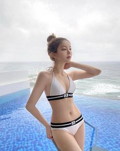 Cute Korean Girl, Cute Asian Girls, Beautiful Asian Girls, Cute Girls, Bikinis, Swimsuits, Swimwear, Motorbike Girl, Figure Poses