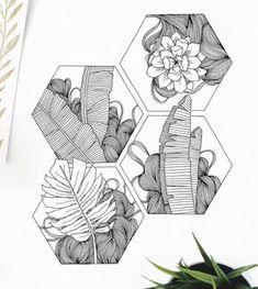 floral, line art, sketch, doodle, geometric