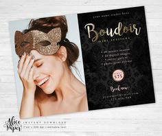 • Instant download •  Boudoir mini session template  DETAILS:  • 1 PSD file • flat cards 5x7 inches • easily customize colors and text (The wording Boudoir cannot be changed but the color can be edited) • layered photoshop PSD files at 300 dpi • clipping masks, easy to drop your photos in • name of the fonts used included • photos are not included with this template   You will need basic knowledge of Adobe Photoshop to make changes in templates. AliceAndPaper products are created for…