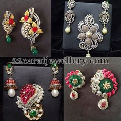 Jewellery Designs: 1 Lakh Worth Pendant Earrings Sets