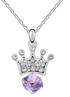 Elegant Metal Flat Front Crown Shape Swarovski Crystal Necklace For Woman