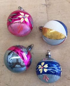 4  Vintage Christmas Tree Glass Ornaments Made in  Poland Hand Painted