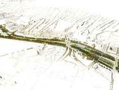 A new green diagonal axis is extended into the core of Barcelona thanks to the burial of the existing railways. This new public space is a means to connect the sea, the city and its natural surroundings. The new La Sagrera linear park or Parc del Camí . Landscape And Urbanism, Landscape Plans, Urban Landscape, Landscape Design, Urban Design Concept, Urban Design Diagram, Urban Design Plan, Paper Architecture, Architecture Graphics