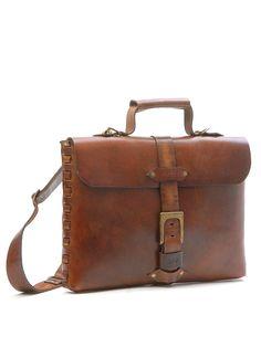 Sandast - Theo Notebook Leather Messenger Bag (Khaki) | VAULT