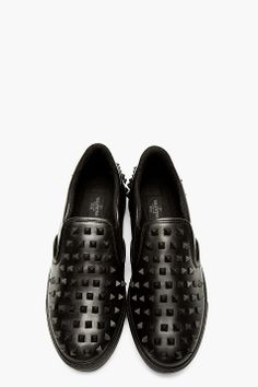 VALENTINO Black Leather Studded Slip-On Shoes