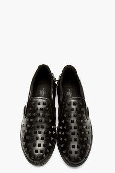 VALENTINO Black Leather Studded Slip-On Shoes