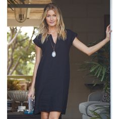 ef320490996 Dori Linen Dress With Pockets Black Linen Dresses