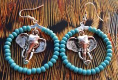 Unique Silver Elephant in Turquoise Hoop Earrings