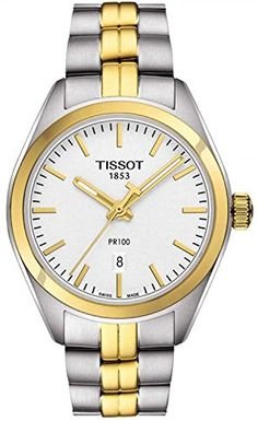 Tissot PR 100 Silver Dial TwoTone SS Quartz Ladies Watch T1012102203100 *** More info could be found at the image url.