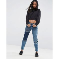 ASOS ORIGINAL MOM Jeans with Graffiti featuring polyvore women s fashion  clothing jeans blue high waisted jeans patterned jeans shiny jeans high  rise jeans ... bd94e139977c3