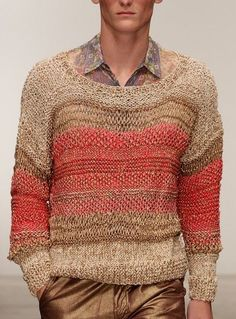 Mens Fashion Sweaters, Knitwear Fashion, Crochet Fashion, Men Sweater, Summer Knitting, How To Purl Knit, Mens Jumpers, Pullover, Textiles