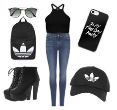 """#mia from lea"" by miavillegas ❤ liked on Polyvore featuring 7 For All Mankind, Topshop and Ray-Ban"