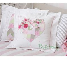 ~Sharing shabby sweetness~ ~Pictures belong to their respective owners.no copyright infringement intended. Cute Pillows, Diy Pillows, Decorative Throw Pillows, Applique Patterns, Quilt Patterns, Patchwork Pillow, Sewing Pillows, Pillow Design, Pin Cushions