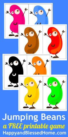 """FREE Printable Game for Children - """"Jumping Beans"""" great for learning letters numbers, shapes and colors. Two versions to choose from - HappyandBlessedHome.com   Kid's Activities   games   preschool learning   gross motor skills   coordination game   jumping game   teaching kids   play and learn"""