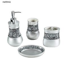 A crackled glass band lines the toothbrush holder, tumbler, soap dish and lotion/soap dispenser of this bath accessory set to brighten your bathroom decor. Crafted with resin, these lovely accessories are finished in sleek brushed nickel. Stone Bathroom Sink, Modern Bathroom Faucets, Contemporary Bathrooms, Bathroom Sets, Bathroom Colors, Bathroom Designs, Gold Bathroom Accessories, Toilet Accessories, Color Schemes Design