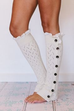 Lacy Knitted Button Down Leg Warmers with Ruffled Crochet Lace Trim. 48 usd