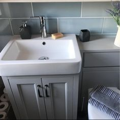 Customer Bathroom Picture - Chatsworth Grey Vanity Unit Inset Basin Monobloc Mixer Tap | glorygirl Bournemouth
