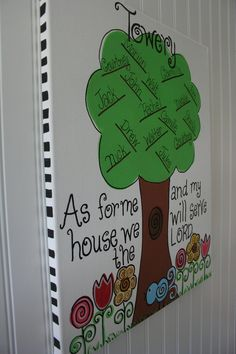 "Me and My House, Personalized Family Tree Hand-painted 16x20 canvas, Bible Verse ""As for me and my house..."" Joshua 24:15. $38.99, via Etsy."