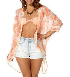 Ivory Coral Kimono Cover Up