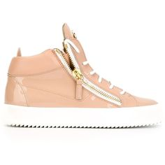 Giuseppe Zanotti Design Zip Detail Hi-Top Sneakers ($659) ❤ liked on Polyvore featuring shoes, sneakers, vintage sneakers, leather hi top sneakers, giuseppe zanotti shoes, lace up high top sneakers and pink shoes