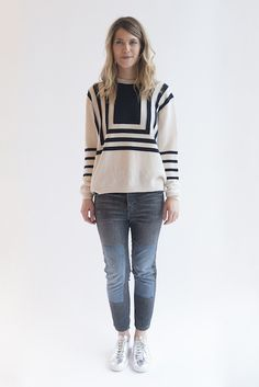 Breton Sweater in Cream & Navy by M.i.h.