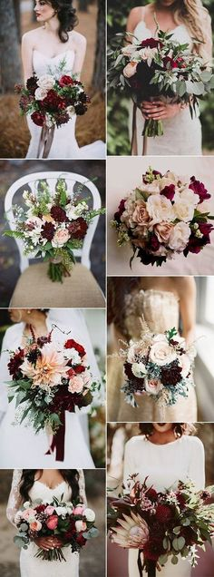 stunning burgundy bridal flower bouquets for all seasons wedding colors scheme fall Refined Burgundy and Marsala Wedding Color Ideas for Fall Brides Bridal Flowers, Flower Bouquet Wedding, Floral Wedding, Trendy Wedding, Purple Wedding, Diy Flowers, Boquette Flowers, Winter Wedding Bouquets, Autumn Wedding Flowers