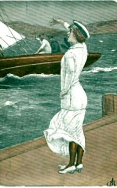 Kunstnerkort Andreas Bloch kvinne ser utover mot seilbåt brukt 1912 Utg Mittet