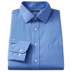 Men's Croft & Barrow® Classic-Fit Easy Care Solid Spread-Collar Dress Shirt, Size: 16-34/35, Blue (Navy)