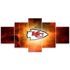 [LARGE] Premium Quality Canvas Printed Wall Art Poster 5 Pieces / 5 Pannel Wall Decor Kansas City Chiefs Painting, Home Decor Pictures - With Wooden Frame Wall Art Prints, Canvas Prints, Home Decor Pictures, Urban Furniture, 5d Diamond Painting, Kansas City Chiefs, Wooden Frames, Wall Decor, Poster