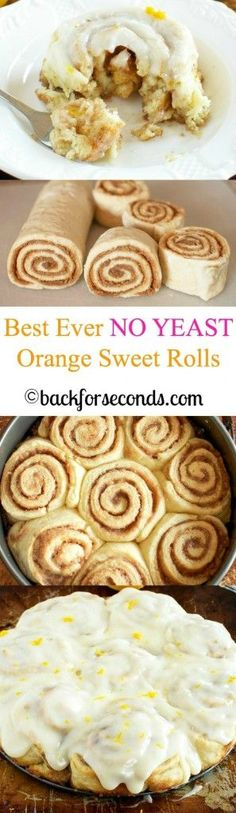 These might really be the BEST NO YEAST Easy Orange Sweet Rolls. Scrumptious recipe that would make great desserts too! Orange Cinnamon Rolls, Orange Sweet Rolls, Best Cinnamon Rolls, Just Desserts, Delicious Desserts, Dessert Recipes, Yummy Food, Churros, Donuts