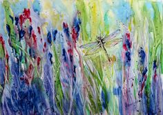 $125 Dragonfly & flowers painting. Wildflower by CecileRancourtArt