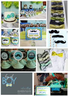 Little Man Baby Shower. I totally want this if I was having a little boy. Ahh, love!!! <3 #babyshower #boy #littleman #mustache #bowties