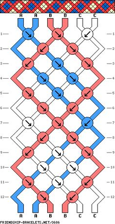 Plaid stripes 3-color friendship bracelet pattern
