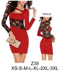 Z35 Vestido con aplicaciones en encaje. Telas: Punto roma, lycra, encaje elasticado. Consumo talla xl: Encaje: 65 cms. Rojo: 1 mt. Aprox.