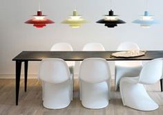 Q: I will soon be getting a Poulsen PH5 lamp for my dining room (hooray!). I'd like to get it the right height above the table. I like plenty of light to read, eat, and work, but on the table, not glaring into my eyes. (Hate ceiling lights, love task lighting.) There must be some kind of guidelines, like the algorithm for hanging pictures. Thanks!