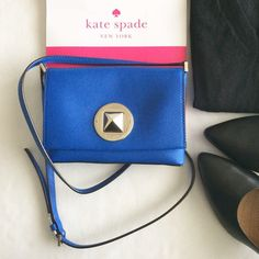 "🎉HP🎉 KSNY Sally shoulder bag crossbody (blue) Authentic Kate Spade Sally Newbury Lane shoulder bag crossbody; orbit blue with gold hardware; measures approx. 7""w x 5""h x 1""d; strap drop 21-23"" (adjustable); brand new with tags and care card. kate spade Bags Crossbody Bags"
