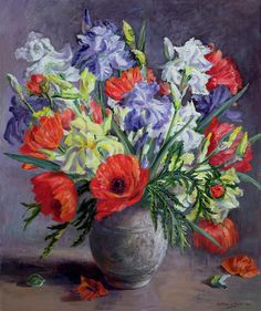 Poppies And Irises - Anthea Durose