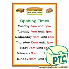 Sandwich Shop Role Play Resources - Primary Treasure Chest Sandwich Shops, Role Play, Oclock, Treasure Chest, Sandwiches, Crafts For Kids, Restaurant, Foods, Activities
