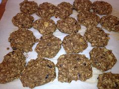 Clean Eating Banana Cacao Power Cookies (I'm eating them for breakfast)  Combine 2 ripe bananas, 1 cup almond milk or coconut water / milk, 2 eggs beaten in. Then add that to 1/2 a cup of coconut flour, wheat germ, 2 scoops of protein powder, 1 1/2 cups of oats, cacao nibs. Healthy, power foods, protein packed and delicious