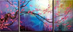 cherry blossom panel group art for sale at Toperfect gallery. Buy the cherry blossom panel group oil painting in Factory Price. All Paintings are Satisfaction Guaranteed Oil Painting Flowers, Oil Painting On Canvas, Canvas Art, Pinterest Pinturas, Most Famous Paintings, Art Paintings, Plum Flowers, Abstract Wall Art, Painting Inspiration