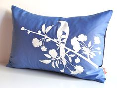 Royal Blue Blooming Blossom Rectangle pillow