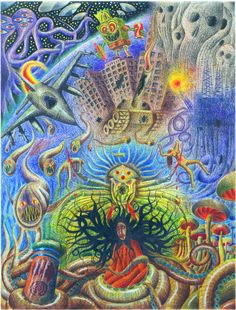 """Reality - Dark Vision"" 40cm x 30cm watercolor pencils on paper 2014 Participatory Visions - Visionary Art Exhibition by www.hydrozen.info"