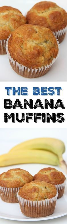 The best banana muffin recipe. The perfect breakfast recipe idea to use overripe. The best banana muffin recipe. The perfect breakfast recipe idea to use overripe bananas. This muffin recipe is so easy and the best muffins weve ever. Delicious Desserts, Dessert Recipes, Yummy Food, Best Banana Muffin Recipe, Easy Muffin Recipe, Moist Banana Muffins, Banaba Muffins, Banana Recipes Easy Healthy, Easy Banana Desserts