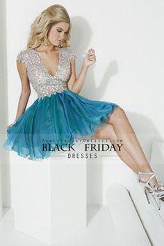 2015 V Neck Short Sleeves Homecoming Dresses Beaded Bodice Short Open Back USD 179.99 BFPMKPRJEN - BlackFridayDresses.com for mobile