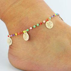 Claw Colored Crystal Rose Wafer Tassel Anklet Heart Bracelet 3f6336e72f82